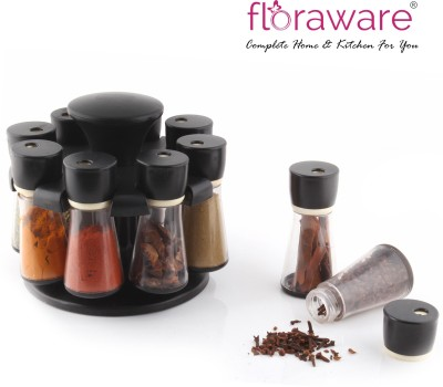 Divine 8 Jar Revolving Spice Rack Masala Box, Black 8 Piece Condiment Set Plastic