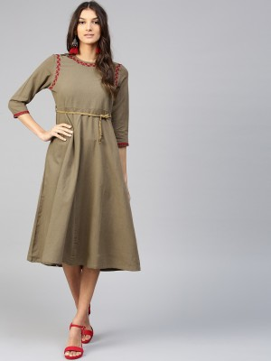 a682584bd4 44% OFF on Sassafras Women Fit and Flare Brown Dress on Flipkart ...