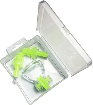 QUINERGYS ™ Emerald - Best Selling Silicone Ear Plugs and Nose Clip Combo Set by INFINIT3 SWIM. Super Soft Silicone Ear plugs Great for swimming outdoor activities Ear Plug & Nose Clip(Green)