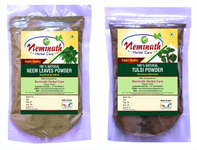 Neminath Herbal Care 100% Natural Neem Leaves (Azadirachta Indica) Tulsi Leaves (Ocimum Sanctum) Powder For Pimple Free Clear Skin Naturally (Pack Of 2) (200 Grams)(200 g)