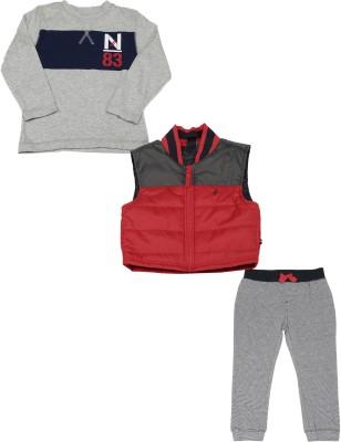 Nautica Boys Casual Jacket T-shirt, Track Pants(Red)