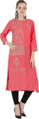 ED Casual Floral Print Women Kurti(Pink)