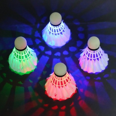 QUINERGYS ™ Badminton Shuttlecock Set , Dark Night Glow Birdies Feather Shuttle  - White(Quite Slow (76),use in hot countries above sea level, 76, Pack of 4)