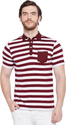 Le Bourgeois Striped Men Polo Neck Maroon, White T-Shirt