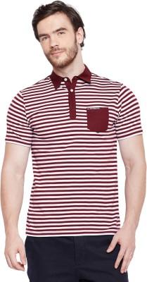 Le Bourgeois Striped Men Polo Neck White, Maroon T-Shirt