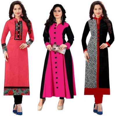 yeoja creation Festive & Party Printed Women Kurti(Pack of 3, Multicolor)
