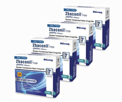 2baconil Nicotine 21 mg step 1 (28 pcs ) 24 hour patch Smoking Patch(Pack of 7)