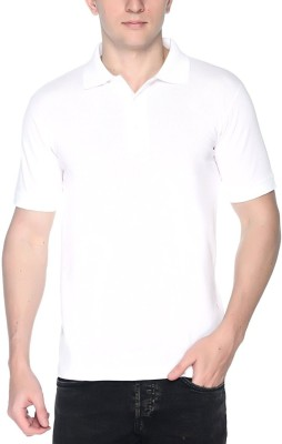 vency creation Solid Men Polo Neck White T-Shirt