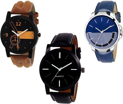 GUOYU Black~Blue~ Brown Super Leather Strap Combo Sett Of Three Watch  - For Men & Women