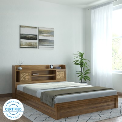 Spacewood Engineered Wood King Box Bed(Finish Color -  Natural Teak)