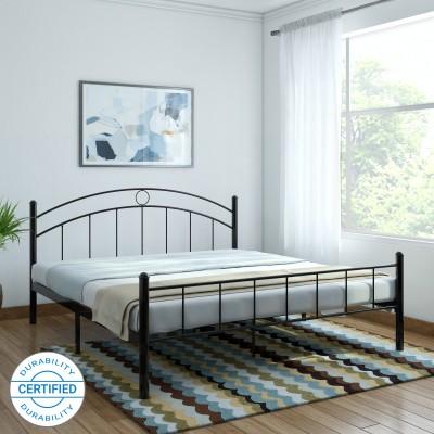 FurnitureKraft Nancy Metal King Bed(Finish Color - Black)