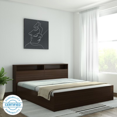 Perfect Homes by Flipkart Opus Engineered Wood Queen Box Bed(Finish Color -  Walnut)