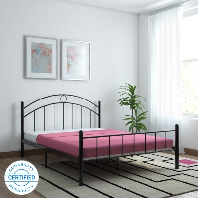FurnitureKraft Nancy Metal Queen Bed(Finish Color -  Black)
