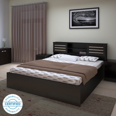 Spacewood Engineered Wood Single Box Bed(Finish Color -  Walnut Rigato)