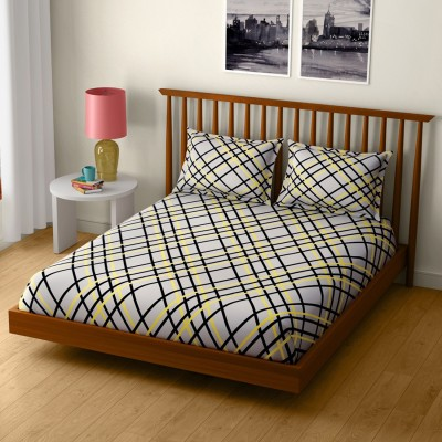 2e030cf0fe CORE Designed by SPACES 104 TC Cotton Double Geometric Bedsheet(1 Double  Bed Sheet with