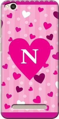 COBIERTAS Back Cover for Mi Redmi 5A(Girly Pink Floating Hearts Letter Alphabet N Designer, Hard Case)