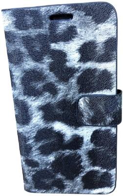 G-case Flip Cover for For Intex Aqua Lions 4G(Black & white, Grip Case, Artificial Leather)