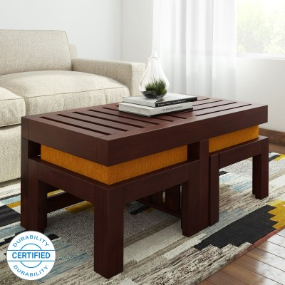 Home Edge Kaffano Sheesham Solid Wood Coffee Table(Finish Color - Teak Finish)