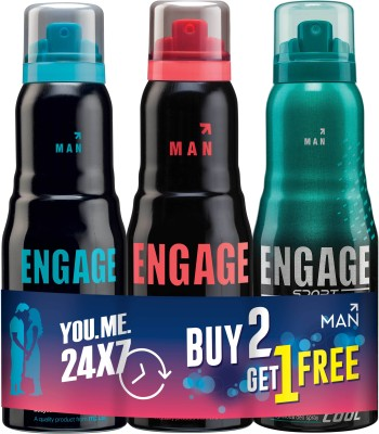 Engage Combo Pack Deodorant Spray  -  For Men(300 ml, Pack of 2)