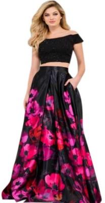 SIXTEENCREATION Women Two Piece Dress Black, Purple Dress