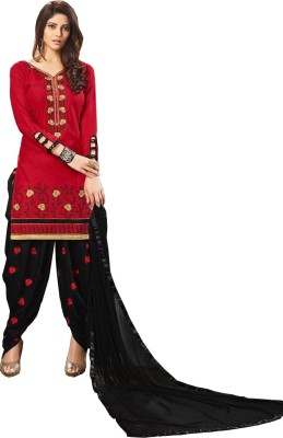 Fashion Ritmo Pure Cotton Embroidered Semi-stitched Salwar Suit Dupatta Material