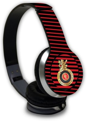 Macmerise RCB Stripe Logo - Wave Wired On Ear Headphones Wired Headset with Mic(Multicolor, On the Ear)