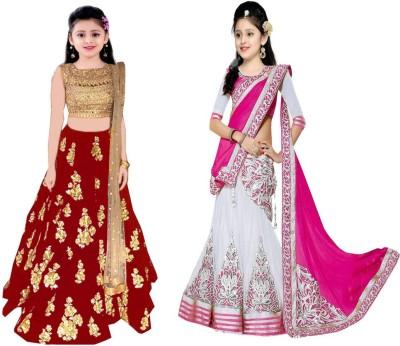 ba7910d3a 79% OFF on MF Retail Girl's Lehenga Choli Ethnic Wear Embroidered Lehenga,  Choli and Dupatta Set(Multicolor, Pack of 2) on Flipkart | PaisaWapas.com