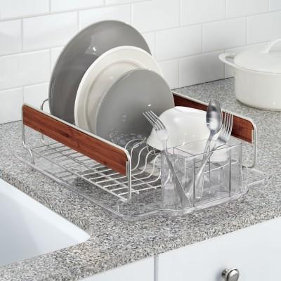 Interdesign Formbu Dish Drainer Steel, Bamboo Kitchen Rack(Beige, Silver)