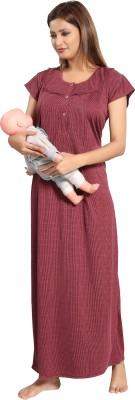 Fabme Women Maternity/Nursing Nighty(Maroon)