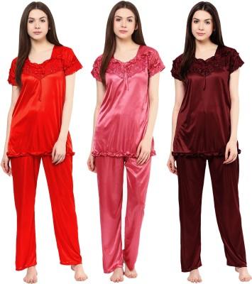 Boosah Women Solid Multicolor Top & Pyjama Set
