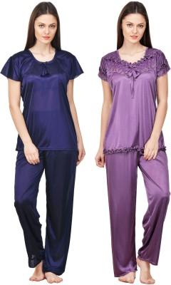 Phalin Women Solid Multicolor Top & Pyjama Set