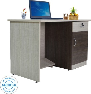 Crystal Furnitech Orion Engineered Wood Office Table(Free Standing, Finish Color - Chocklate Sawline + sandy Sawline)