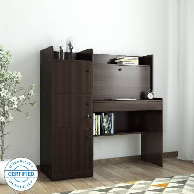 HomeTown Vento-Venus Engineered Wood Study Table  (Free Standing, Finish Color - Walnut)