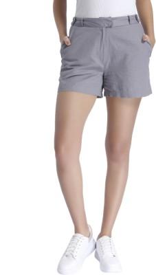 Vero Moda Solid Women Grey Basic Shorts at flipkart