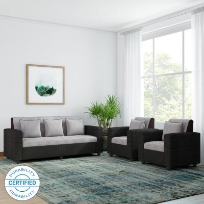 Bharat Lifestyle Tulip Fabric 3 + 1 + 1 Black Sofa Set