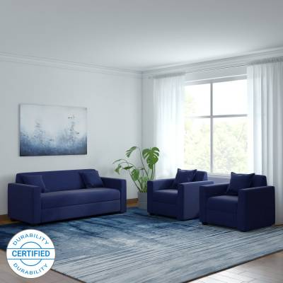Westido Fabric 3 + 1 + 1 Navy Blue Sofa Set