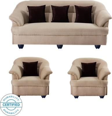 Bharat Lifestyle Sagittarius Fabric 3 + 1 + 1 Cream Sofa Set