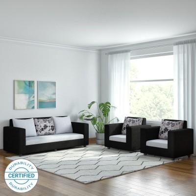 Bharat Lifestyle Nano Fabric 3 + 1 + 1 Black Grey Sofa Set