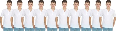 FIRSTLIKE Solid Men Polo Neck White T-Shirt(Pack of 10)