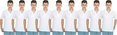 FIRSTLIKE Solid Men Polo Neck White T-Shirt(Pack of 9)