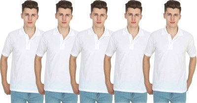 FIRSTLIKE Solid Men Polo Neck White T-Shirt(Pack of 5)