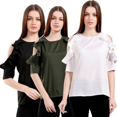 Girlsshopping Casual 3/4 Sleeve Solid Women Black, Green, White Top
