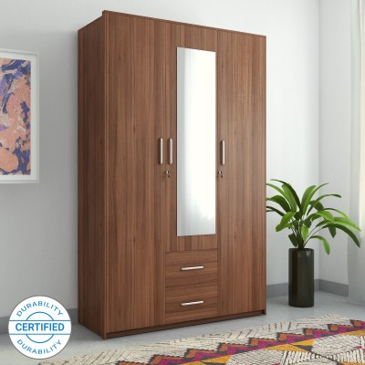 Spacewood Apex Engineered Wood 3 Door Wardrobe(Finish Color - Brown, Mirror Included)