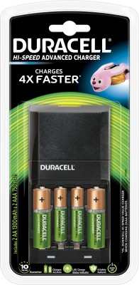 Duracell Hi-speed advanced charger - includes 2 A A - 1300mAh & 2 A A A - 750mAh batteries (with 15 mins charge time = 4 hrs use time) Camera Battery Charger(Black) 1