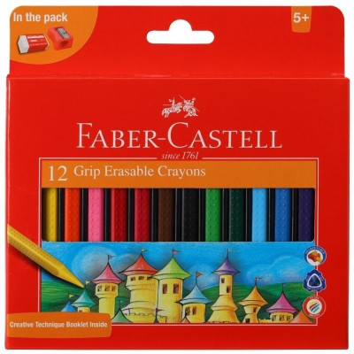 Faber-Castell 12 Grip Erasable Crayons(Assorted)
