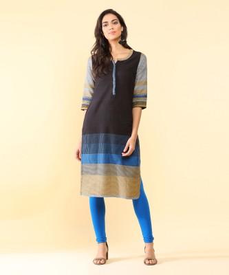 Biba Women Self Design Straight Kurta(Blue)