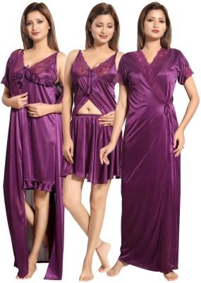 Fabme Women Nighty with Robe(Maroon, Maroon, Maroon)