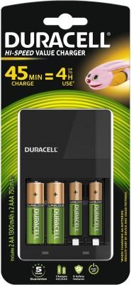 Duracell Hi-speed Value charger - Includes 2 A A - 1300mAh & 2 A A A - 750mAh batteries (45...