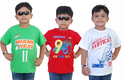 WE CAN Boy's Printed Cotton T Shirt(Multicolor, Pack of 3)