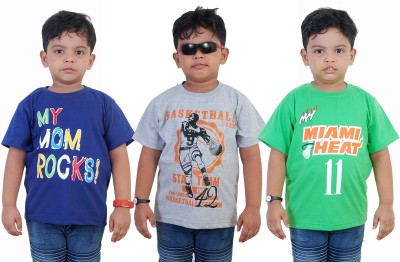 WE CAN Boy's Printed Cotton T Shirt(Blue, Pack of 3)